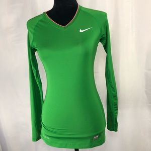 Nike Pro Women's Long Sleeve Fitted V-Neck Top